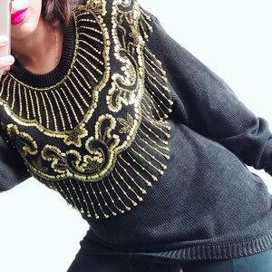 Vintage Gold Sequined Sweater